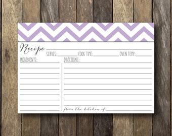 Purple Recipe Card - Digital Download Recipe Cards - Printable 4x6 Recipe Card - Chevron Recipe Cards - Bridal Shower Printables