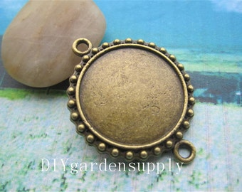 lead and nickel free---10pcs 30mm outside/inner 24mm antiqued bronze round bezel trays blanks--2 loop