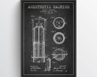 1903 Anesthetic Machine Patent Art Print, Medical Patent, Anesthetic Machine Poster, Home Decor, Gift Idea, ME65P