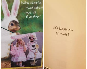 Hand made upcycled funny Easter Card for adult.