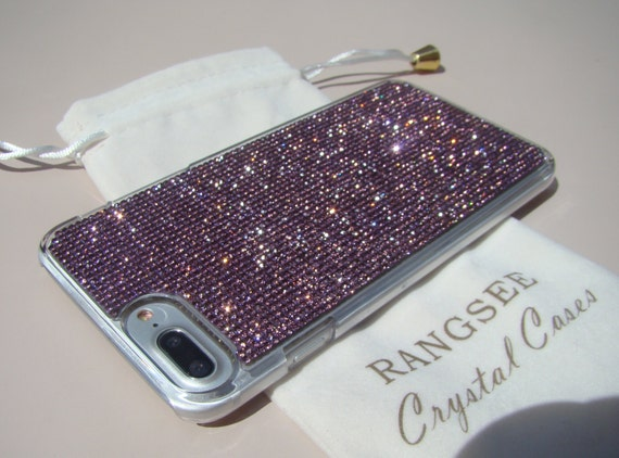 iPhone 8 Plus Case / iPhone 7 Plus Case Purple Amethyst Rhinestone Crystals on Transparent Clear Case. Velvet Pouch Included,