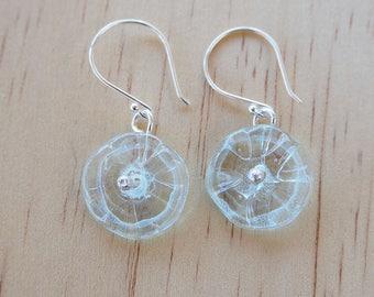 Flower earrings. Beaded earrings. Statement earrings. Upcyled. Recycled glass. Blue earrings. Gift for mom. Handmade jewelry. Birthday gift.