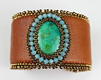 Large Leather and Turquoise Beaded Cuff with Swarovski Crystals