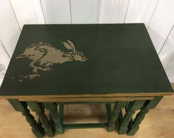 Nesting tables, nest of tables, side table: hare theme, green and gold  (Annie Sloan Chalk Paint)