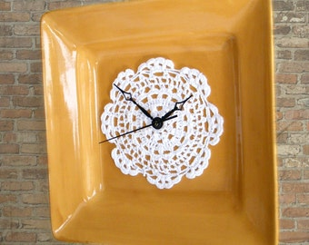 Mustard Gold Country Kitchen Wall Clock Upcycled Recycled White Lace Doily Retro Style Dinner Plate Square Clock Cottage Chic