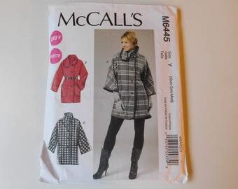 UNCUT McCall's pattern # M6445 Size 4-14 Jacket or Coat - Easy, unlined coat or jacket. Very loose fitting, sleeve variations, wrap collar.