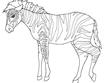 DIGITAL DOWNLOAD Zoo Animal Adult Coloring Book Pages, Wild Animal Color In Digital Adult Coloring Pages, Animal Themed Adult Coloring Art
