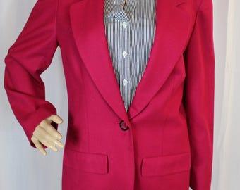 Magenta Pendleton wool blazer