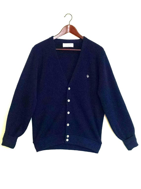 Vintage 1980's Christian Dior Monsieur Navy Blue V Neck Sweater cszbKTNxPQ