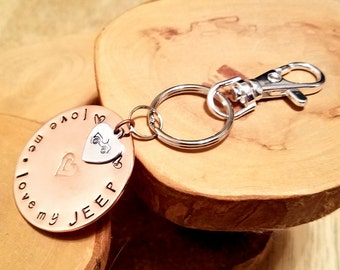 Love Me Love My Jeep hand stamped double layer copper and aluminum keychain with swivel clip GREAT gift idea!