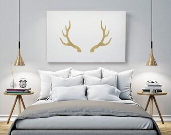 Deer Antlers Print In Gold, Antler Art, Wall Decor Gold, Gold Animal Wall Art, Antler Poster, Gold Antlers, Gold Printable Art, Digital Art