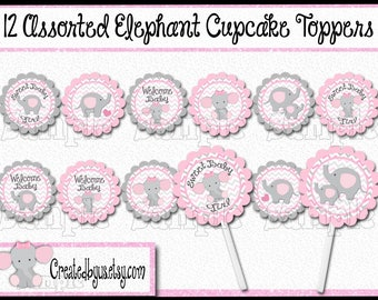 Baby Elephant Cupcake Toppers Elephant Baby girl shower Decorations Custom baby elephant favors cupcake pick topper cupcake top 12 assembled