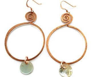 Hammered Copper Mussel Shell Earrings Tsalagi Cherokee Made