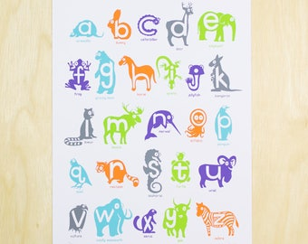 Animal Alphabet Poster - Great for Nursery's or Classroom's