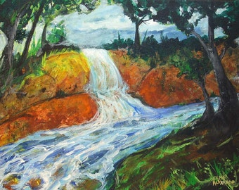 waterfall painting, River Waterfall, original acrylic painting on canvas, river painting, landscape painting, original art