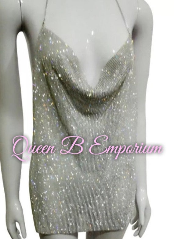 Luxurious Sparkling Rhinestone Silver open back Full Top