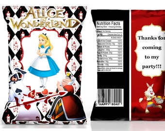Alice in Wonderland party favors----Alice in Wonderland chip bag----Alice in Wonderland tea party------DIGITAL FILE ONLY!!!!