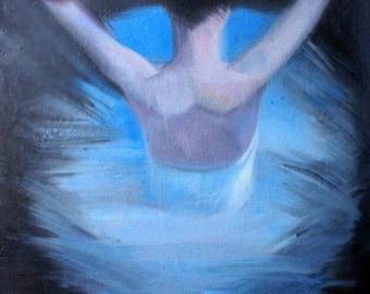 Gift for Her Stretched Art Print, Blue Modern Wall Art Print - Canvas Art Woman Painting, Ballerina Art