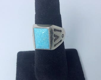 Vintage NOS Navajo Sunbell turquoise and sterling men's ring size 9 1/4
