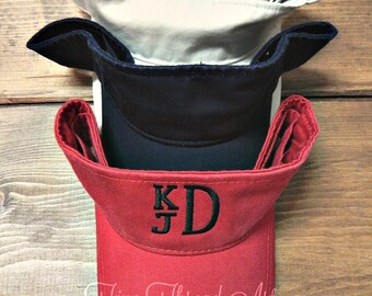 KIDS Monogram Visor Baseball Cap Hat for Girls Boys Youth Size Name Initials Red Navy White Stone
