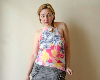 Racer Back Tank Top Floral and Leopard Print, Sleeveless Top with Lillies and Animal Print