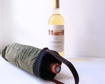 Waxed Canvas Wine Tote bag, gift for him, bag for party, bag for picnic, bag for bottles