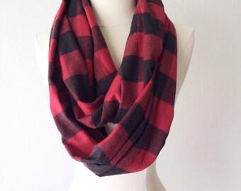 Black & Red Plaid Flannel Infinity Scarf - Handmade - Preppy, Classic, Edgy, Boho, Soft, Warm - Gift for Her, Birthday, Fall Fashion, Chic