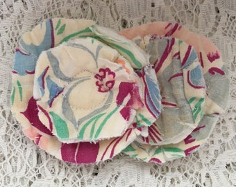 2 upcycled fabric flowers, cottage chic flower, gift top lot flower supplies, scrap flowers shabby upcycled quilt flower scrap appliques #47