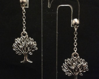Earrings tree and leaves with silver - chain - 4 cm