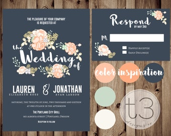 Vintage Floral Wedding Invitation and Response card, Wedding invitation, rsvp card, floral wedding invite, rustic wedding, whimsical wedding