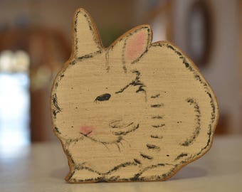 Vintage Easter figurines, wooden & stuffed animals of bunnies and rabbits for spring