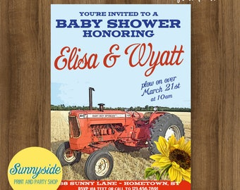 Country baby shower invitation, farm tractor baby shower invite, farming baby boy printable invitation with red orange tractor, it's a boy