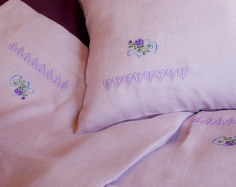 Linen Cotton Baby Bedding Set 3pcs, Baby Bed Linen, Nursery Bedding, HANDMADE, Lilac, Embroidered Bed Set