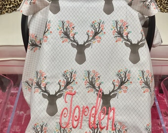 Fawn Car Seat Blanket, Car Seat Tents, Fawn Florals Car Seat Tents, Fawn Tent Blankets, Add a name or Monogram to your Canopy Blanket.