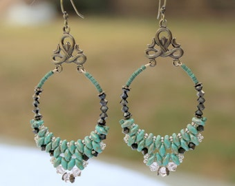 Superduo and Swarovski Crystal Earrings