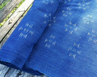 hand woven natural indigo dyed cotton fabric by the meter Ikat design (HTH 13)