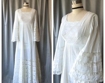 """1960s White Cotton Mexican Wedding Dress w Pintucks & Lace / Vintage Boho Bridal Gown w Bell Sleeves / 30"""" Empire Bust"""