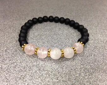 Black Onyx Rose Quartz Bracelet
