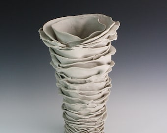Fancy Dress. Porcelain ceramic white sculpture. Large statement vase, functional art by Chelsea Mae