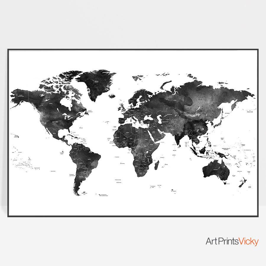 World map art black and white world map world map wall art world world map art black and white world map world map wall art world map decor travel map gift world map poster artprintsvicky gumiabroncs Choice Image