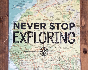 """Western Africa Map Print, Never Stop Exploring, Great Travel Gift, 8"""" x 10"""" Letterpress Print"""