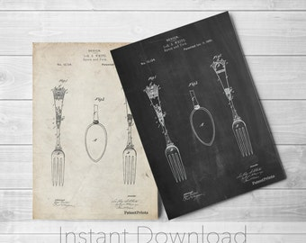Spoon and Fork Printables, Silverware Art, Antique Silverware, Dining Room Wall Decor, PP0258