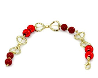 Red And Gold Bracelet Butterfly And Hearts