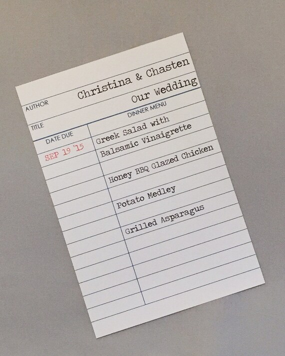 Library Wedding Date Due Checkout Card Menu Cards for Literary Wedding / Shower (set of 20)