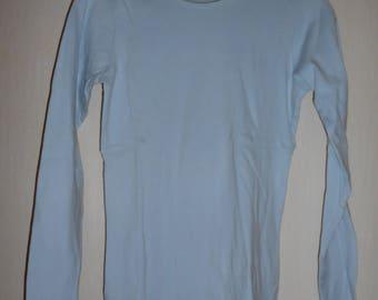 Blanche Porte - woman T-shirt, long sleeves, T34-36, light blue 100% cotton - vintage 90's