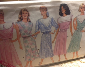 Vintage Butterick Pattern 4735, dress pattern, uncut pattern,  80's dress pattern, sizes 8 10 12 pattern, sailor collar dress