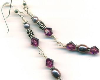 Earrings - Crystal and Pearl Dangles
