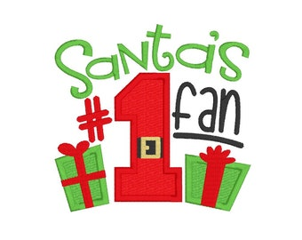 Santa's #1 Fan - Embroidery Design - Baby Bib - Design - Applique Christmas Design - Machine Embroidery- Child's Shirt Design