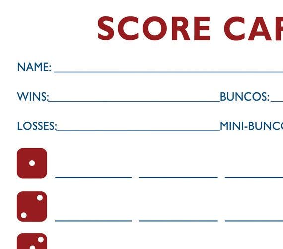 Baseball Bunco Printable Score And Table Card Set AKA