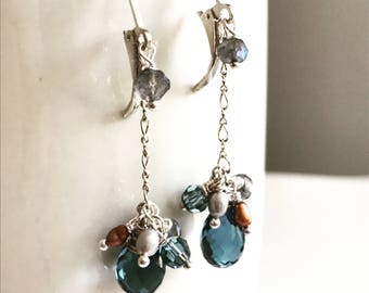 London blue quartz dangle earrings